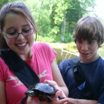 Students with a Painted Turtle