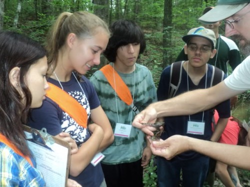 Jeff Hall showing students frogs