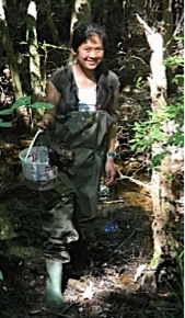 Participant wearing waders to check trap.